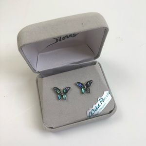 Storrs wild pearl butterfly post earrings NWT
